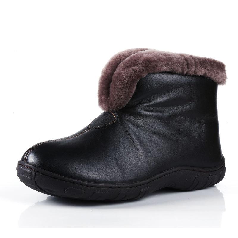 Inverno em homens mais velhos de pele de carneiro V-skid de algodão acolchoado sapatos quentes botas de neve idosos curto(China (Mainland))