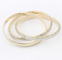 Min.Order $8.8(Mix Order) Wholesale 2014 Europe America Brand Fashion Bracelet 3pcs/set Alloy Frosted Women Bangles FB0039