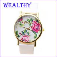 2015 New Fashion Women dress Leather Geneva Rose Watch Dress Quartz Watches Reloj Mujer