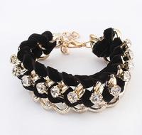 Min.Order $8.8(Mix Order) 2014 Europe America Fashion Lady Silk Ribbon Crystal Rhinestone Chain Bracelet FB0038