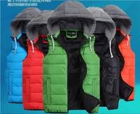 men's Fashion Casual Zip Hooded Vest Cotton Vest Top Down Coat waistcoat with a hood vest