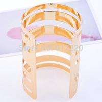 New European Exaggerated Irregular Geometry Shaped Open Fashion Metal Hollow Bangles For Women&Men Free Shipping