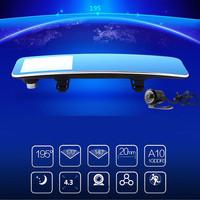 "Free Shipping 4.3"" Car Camera DVR Rearview Mirror Car Recorder  HD 1080P Front camera and HD 720p Rear camera"