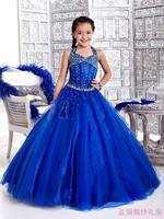 12 2014 blue red flower girl dresses for weddings girls pageant dresses halter prom dress children vestido de daminha 2015