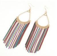 Min. Order $8.8(Mix Order) Elegant Charm Women Long Colorful Chain Drop Earrings Fancy Dress Tassel Chain Earrings FE0100