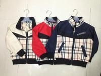 2014  New  Retail  Brand  fashion  spring/autumn  children's  coat  plaid  pattern  long  sleeve  zipper  boy's  coat
