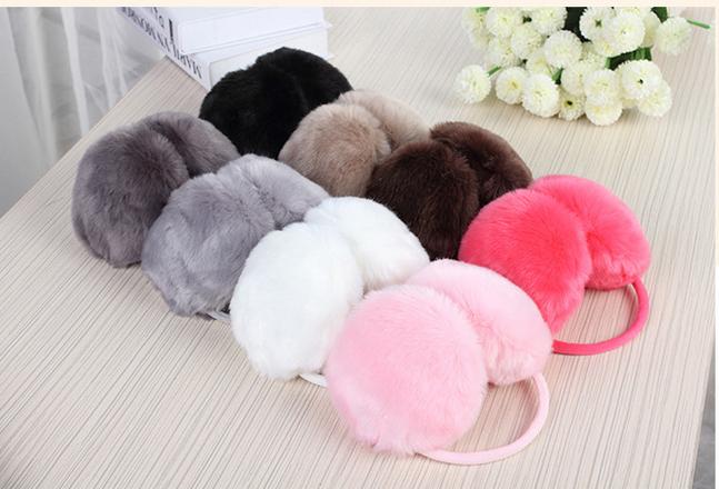 Free shipping --Cheece . wool fluffy earmuffs five colour woman winter candy warm earmuffs EZ002(China (Mainland))