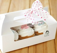 Free shippping Wholesale and retail Paper 6 Cupcake box with pvc window  included of insert 50pcs/lot