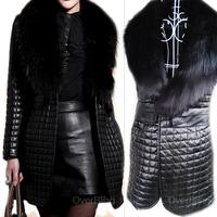 European Hot-Selling 2014 Best NEW Women Winter Fashion Jackets Fox Fur Collar Faux Leather Outerwear Woman Mid-long coats