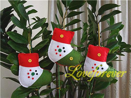 Christmas Ornament Handmade red and white Sock Xmas Favor Favour Decor(China (Mainland))