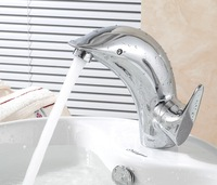 Dolphin Lovely Style Single Handles Chrome Solid Brass Bathroom Vanity Sink Faucet / Basin Tap / Torneira Mixer (UP-D5645)