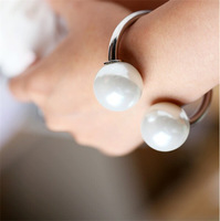 New Fashion Classic Double Faux Big Pearl Open Bracelets & Bangles For Women