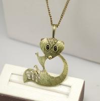 6pcs/lot  latest fashion women jewelry accessories  metal cute squirrel pendant long necklace