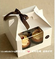 Free shippping Wholesale and retail Paper Cup cake box with pvc window  included of insert 50pcs/lot