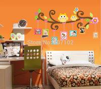 50Sets/Lot Owl Scroll Branch 3D Wall Decalsl/Cartoon PVC Wall Stickers Mural For Children Room Decor 110*60cm