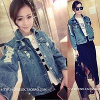 2014 New Fashion Women Clothing Jean Jacket Hole Loose Women fashion Coat Plus Size Free Shipping