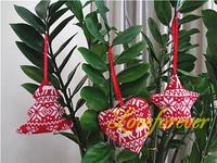 Hanging Christmas Ornament Handmade Star, Tree and Heart  Xmas Favor Favour Decor