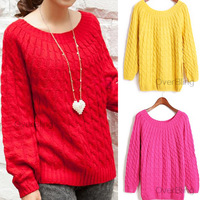 New Autumn Winter Retro Twist Pullover Lady Sweater Crewneck Long Sleeve Knitted Sweater Women