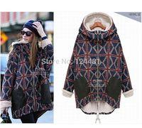 8158 European big yards ladies 2014 new winter plus velvet warm personality plaid coat big yards long section of the jacket