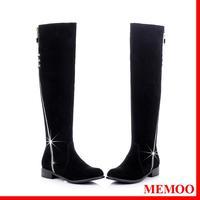 MEMOO 2014 Winter Knee-High Boots For Femininas Nubuck Leather Round Toe  Size 2-12 Rhinestone Low heel Zip  Shoes A1353