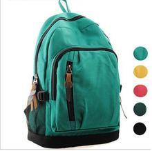 Simple Zipper Canvas Women Men Backpack School bag Travel bag  B20440(China (Mainland))