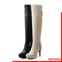 MEMOO 2014 Over the Knee High Boots  Size34-43 Round Toe Full Grain Leather Thin Heel Winter Buckle Solid Shoes Women A1323