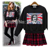 PDL8988 Plus Size 2014 New European Style Women Autumn Cotton  Coat Long Sleeve Plaid Skirt Stitching  Casual Sweatshirt