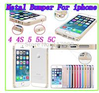 Aluminum luxury Metal Bumper Case Ultra Thin 0.7mm Frame Bumper Cases For iPhone 4 4S 5 5S 5C