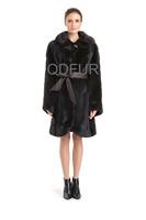 Luxury Genuine Real Mink Fur Coat Jacket  Hooded Female  Fur Outerwear  Long Garment Long SleeveQD70738
