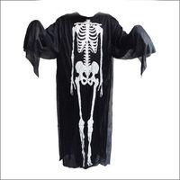 Black Halloween Costume Ghost Skeleton Clothes Skull Cosplay Devil Dress Cool   95698