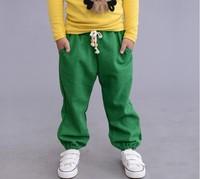 Free shipping 2014 new autumn Children pants girl boy unisex  trousers pure color linum usitatissimum cotton blue green  orange