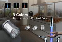 Temperature Sensor taps Glow Shower torneiras inox para bacia banheiros LED Light Water glow led bathroom  faucet single handle