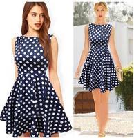 2014 Casual Elegant Dresses Women Sleeveless Party Vintage Prom Polka Dot Printed Dresses Dark Blue Plus Size