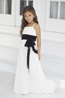 2014 Hot Sale High Quality Beautiful Sweetheart Cute with Bow Sashes Chiffon Beach Flower Girl Dress