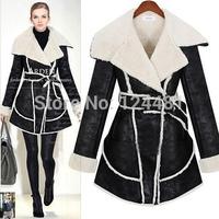 2014 new women's winter long section of European style lamb's wool coat cotton padded jacket women # 8297