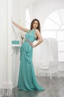 New Arrival Halter Long Chiffon Abaya Dubai Green Evening Dresses 2014 Beaded Belt