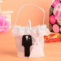 White Wedding Favor bag, small gift bag