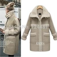 2014 new women's winter long section of European style lamb's wool coat cotton padded jacket women # 8296