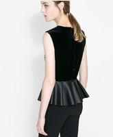 New 2014 Women Blouses Velvet Autumn Peplum Tops Shirts Office Women Casual Sleeveless Blusas Plus Size