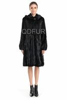 Luxury Genuine Real Mink Fur Coat Jacket Female Fur Outerwear Long Garment Square Hat QD70741