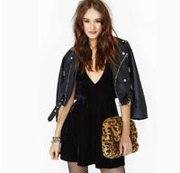 New 2014 Womans Fashion Dress Velvet Sexy Black Dress Deep V Cross Party Dress Free Shipping