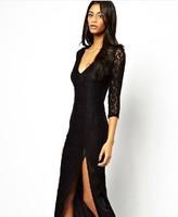 New Brand 2014 Woman Fashion Slit Dress Black Vestido Lace Deep V Party Dress Free Shipping