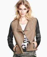 Faux Leather Jacket New 2014 Patwork Zipper Pockets PU Jacket Fashion Autumn Winter Leather Coat