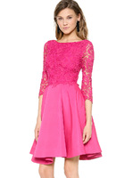 EAST KNITTING HDY-481 2014 Autumn Office Lady Dress  Women Lace Hollow Out Sexy Party Dress Free Shipping