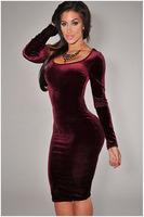 FREE SHIPPING 2014 Wine Velvet Long Sleeves Midi Bodycon Dress Free Size Women Casual Vintage Autumn Dress NA6684