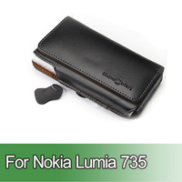Free Shipping 1pcs Holster Flip Genuine Leather Case Pouch Cover For Nokia Lumia 735 Mobile Phone With Belt Clip / Loop