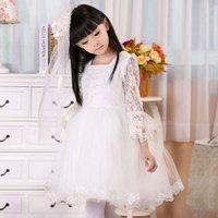 14 2014 white lace long sleeve  flower girl dresses for weddings girls pageant dresses prom dress children vestido de daminha