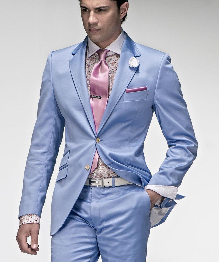 Mens Blue Suit Wedding Tuxedos Men Wedding Suits