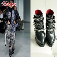 2014 Autumn Latest women silver studs ankle wrap strap punk wedge high heel rivets heighten ankle boots leather bootie shoes
