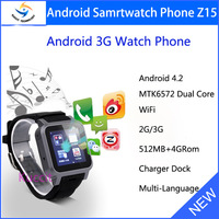 2014 new Original bluetooth smart watch phone for Android cell phone 3G GPS Wifi Camear MTK6572 Dual Core martwatch Z15 S5 S12